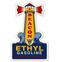 Fiftiesstore Beacon Light House Ethyl Gasoline Zwaar Metalen Bord 57 x 36 cm