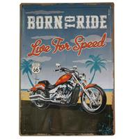 Fiftiesstore Born To Ride Live For Speed Route 66 Metalen Bord Met Reliëf 43 x 31 cm