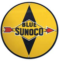 Fiftiesstore Blue Sunoco Emaille Bord 12 / 30 cm