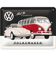 Fiftiesstore Volkswagen Meet The Classics Metalen Bord - 15 x 20 cm