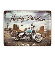 Fiftiesstore Harley-Davidson Route 66 Road King Classic Metalen Bord met Reliëf 15 x 20 cm