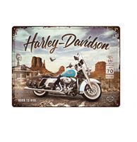 Fiftiesstore Tinnen Bord 30 x 40 Harley-Davidson - Route 66 Road King Classic