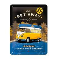 Fiftiesstore Tinnen Bord 15 x 20 VW Bulli - Let's Get Away Night