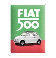Fiftiesstore Metalen Bord 15 x 20 Fiat 500 - Italiaanse Kleuren