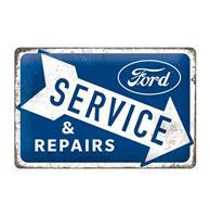 Fiftiesstore Metalen Bord 20 cm x 30 cm Ford Service & Repairs