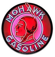 Fiftiesstore Mohawk Gasoline Neon Look Zwaar Metalen Bord - 40 cm ø