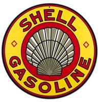 Fiftiesstore Shell Gasoline Logo Zwaar Metalen Bord - 36 cm ø