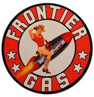 Fiftiesstore Frontier Gas Rocket Girl Zwaar Metalen Bord - 36 cm ø