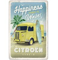 Fiftiesstore Tin Signs 20 x 30 cm Citroen Type H - Happiness Comes In Waves