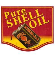Fiftiesstore Pure Shell Oil Retro Zwaar Metalen Bord 48 x 40,5 cm
