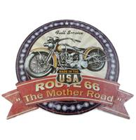 Fiftiesstore Route 66 The Mother Road Cut Out Metalen Bord - 39 x 35 cm