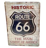 Fiftiesstore Historic Route 66 The Main Street Of America Metaal Bord 30 x 40 cm