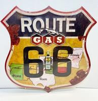 Fiftiesstore Route 66 Gas Metaal Bord 48 x 48 cm
