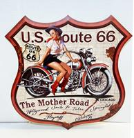 Fiftiesstore Route 66 The mother Road Metaal Bord 48 x 48 cm