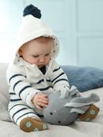 VERTBAUDET Babypakje vanaf geboorte van tricot met voering gestreept ivoor