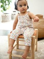 VERTBAUDET Set jumpsuit en haarband babymeisje van molton wit met print