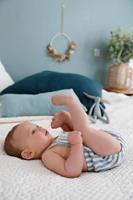 VERTBAUDET Boxpakje baby gestreept chambrayblauw