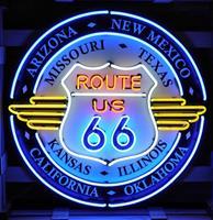 Fiftiesstore Route 66 All States Neon Verlichting Met Achterplaat XL 100 x 100 cm