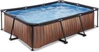 EXIT Wood zwembad - 220 x 150 x 65 cm - met filterpomp