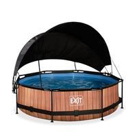 EXIT Wood opzetzwembad met schaduwdoek en filterpomp bruin ø300x76cm