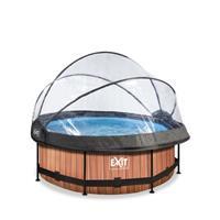 EXIT Wood opzetzwembad met overkapping en filterpomp bruin ø244x76cm