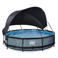EXIT Stone opzetzwembad met schaduwdoek en filterpomp grijs ø360x76cm