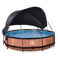 EXIT Wood opzetzwembad met schaduwdoek en filterpomp bruin ø360x76cm