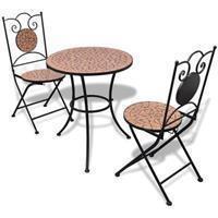VidaXL Bistrotafel met 2 stoelen 60 cm mozaïek en terracotta