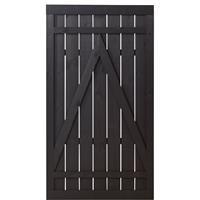 DK Plus Tuindeur vuren Rustik recht zwart (100 x 180 cm) ruw