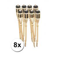 Bellatio Bamboe tuinfakkels set 8 stuks 61 cm