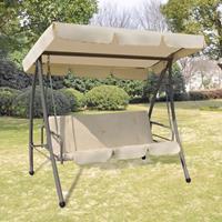 vidaXL Schommelstoel voor buiten met luifel zandwit