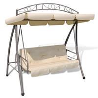 vidaXL Schommelstoel voor buiten met luifel en versiering zandwit
