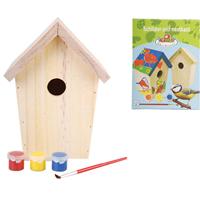 Esschertdesign Esschert Design Doe-het-zelf vogelhuis met verf 14.8x11.7x20 cm KG145