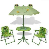 VidaXL Bistroset met parasol voor kinderen groen