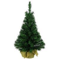 Volle kerstboom groen in jute zak 45 cm Groen