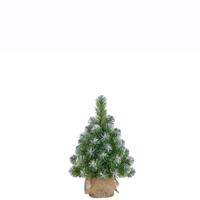 Ons Merk Norton mini kunstkerstboom in jutezak groen frosted 60x23cm.