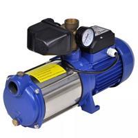 VidaXL Jet pomp met waterdrukmeter 1300 W 5100 L/u blauw