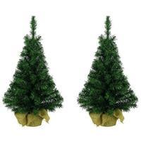 2x Volle kerstbomen groen in jute zak 45 cm Groen