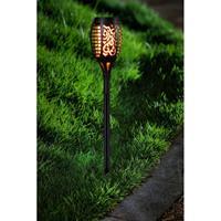 2x Tuinlamp fakkel / tuinverlichting met vlam effect 48,5 cm Zwart