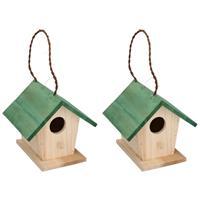 Lifetime Garden 2x Houten vogelhuisjes/nestkastjes met groen dak 17 cm Multi