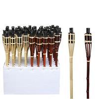 Set van 4 bamboe fakkels beige safe 65 cm Beige
