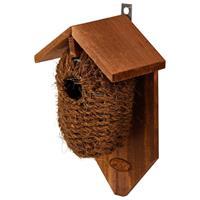 Decoris Houten vogelhuisje/nestbuidel kokos 26 cm Bruin
