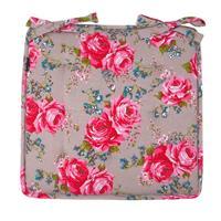 Leen Bakker Zitkussen Rosemary - kiezel/roze - 40x40 cm