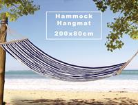 valetti 200x80 cm blauw gestreept hangmat met stokken
