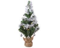 Everlands Mini kerstboom tafelboom mini D-H-Z boom h60 cm-20L groen/zilver