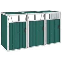 VidaXL afvalbakberging driedubbel 213x81x121cm groen