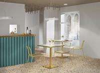 SCAB design Tiffany Vierkante Bistro Eettafel 80 X 80 Cm - Marmer Effect Tafelblad - Messing Onderstel