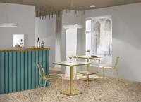 SCAB design Tiffany Ronde Bistro Eettafel 70 Cm - Wit Marmer Effect Tafelblad - Messing Onderstel