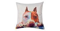 Clayre & Eef Kussenhoes KT021.236 43*43 cm Wit, Bruin, Paars Polyester Vierkant Hond Sierkussenhoes