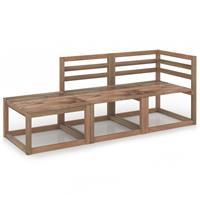 vidaXL 3-delige Loungeset bruin geïmpregneerd grenenhout